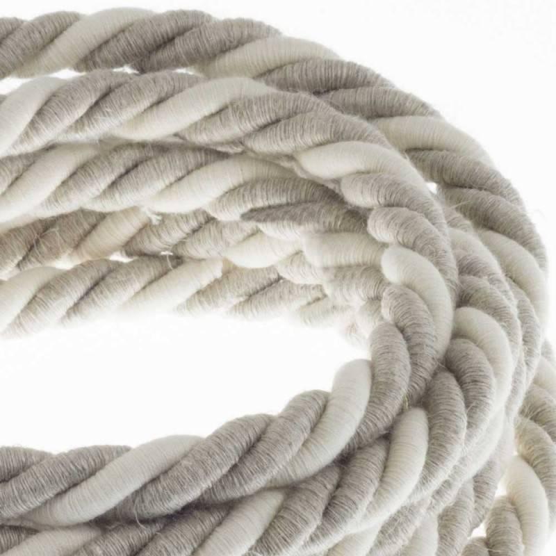 Cordón XL, cable eléctrico 3x0,75, recubierto en lino natural y algodón en bruto. Diámetro: 16mm.