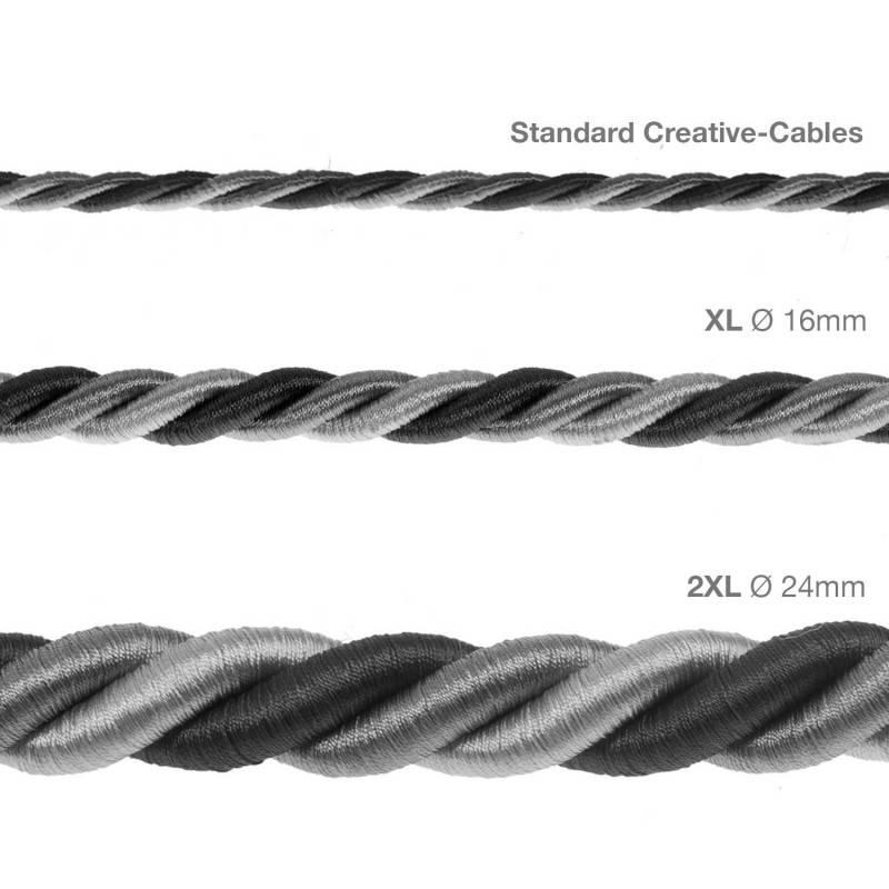 Cordon XL, cable eléctrico 3x0,75. Revestimiento de tejido lucído Orleans. Diámetro: 16mm.