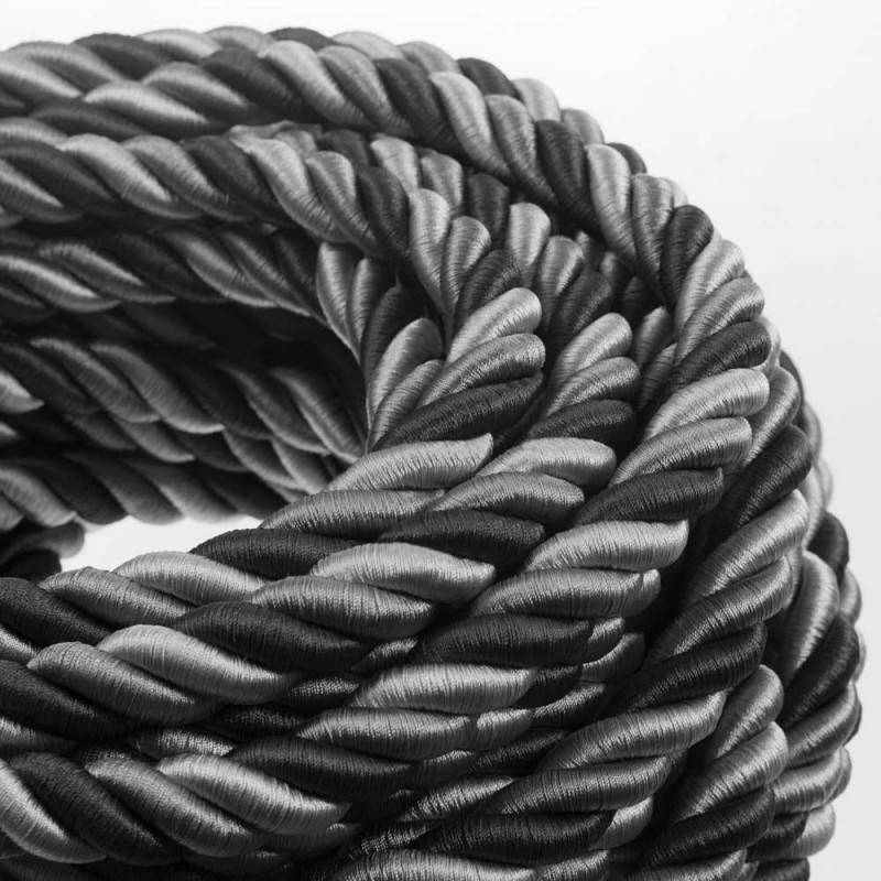 Cordon 2XL, cable eléctrico 3x0,75. Revestimiento de tejido lucído Orleans. Diámetro: 24mm.