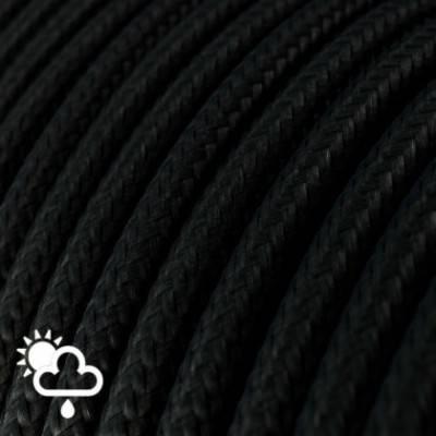 Cable electrico para exterior redondo revestido en tejido Efecto Seda Negro SM04