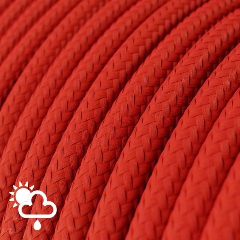 Cable electrico para exterior redondo revestido en tejido Efecto Seda Rojo SM09