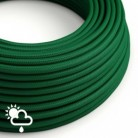 Cable electrico para exterior redondo revestido en tejido Efecto Seda Verde Oscuro SM21
