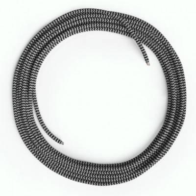 Cable Lan Ethernet Cat 5e sin conectores RJ45 - RZ04 Efecto Seda Blanco y Negro