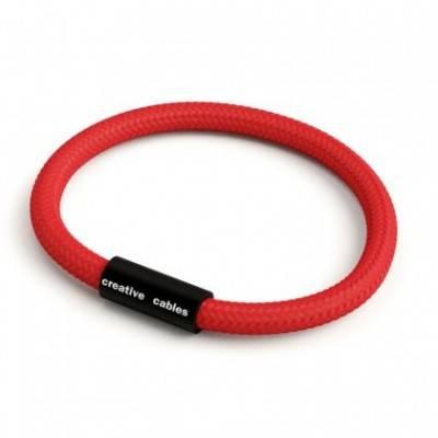 Pulsera con cierre magnético negro mate y cable RM09