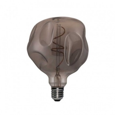 Bombilla LED Smoky Bumped Globo 125 filamento Curvado Espiral 5W E27 regulable 2000K