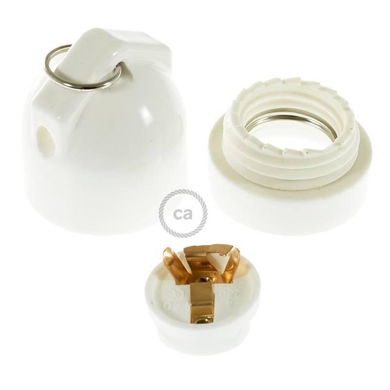 Kit portalámparas de porcelana con doble entrada E27