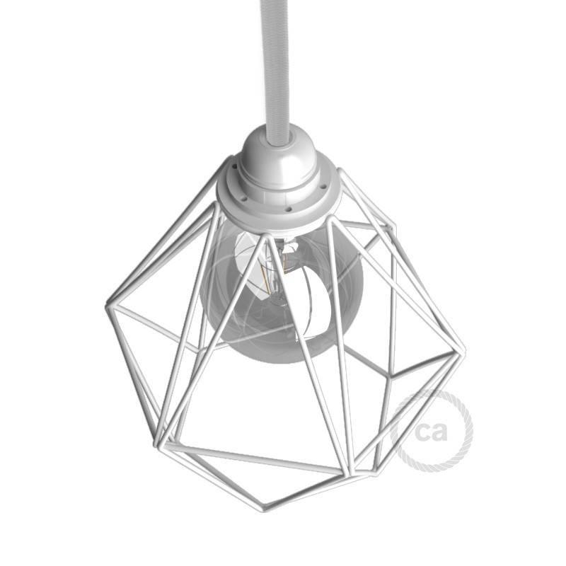 Pantalla Jaula Diamond de metal con casquillo E27