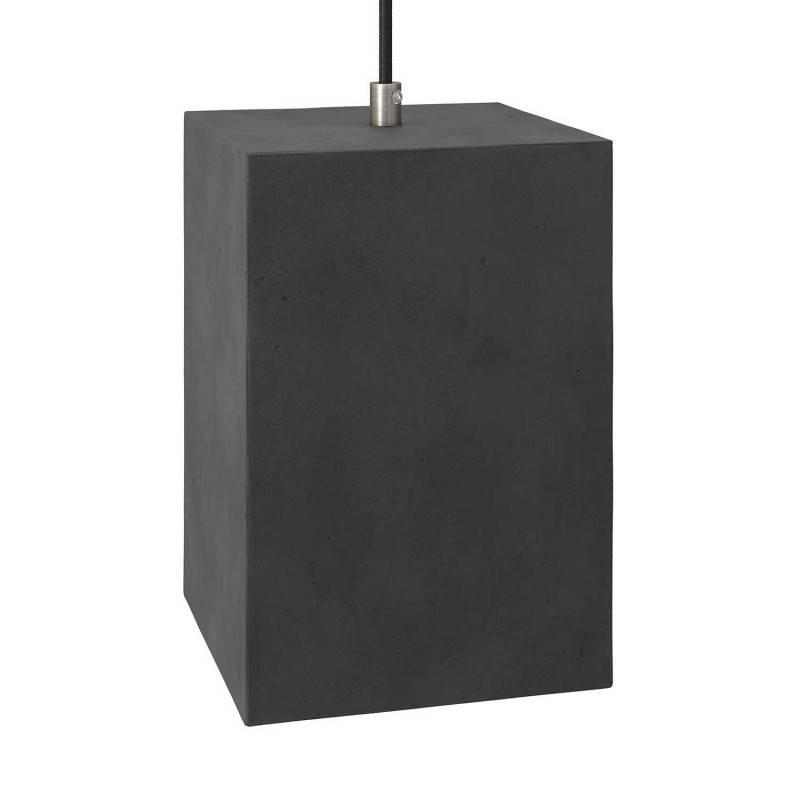 Pantalla de cemento Cubo para lámpara de suspensión, incluye portalámparas E27 y prensaestopa