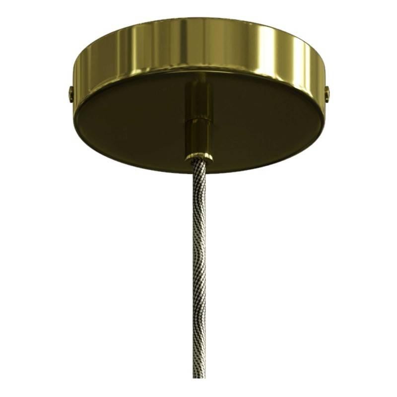 Lámpara colgante hecha en Italia con cable textil, bombilla y detalles metálicos en contraste
