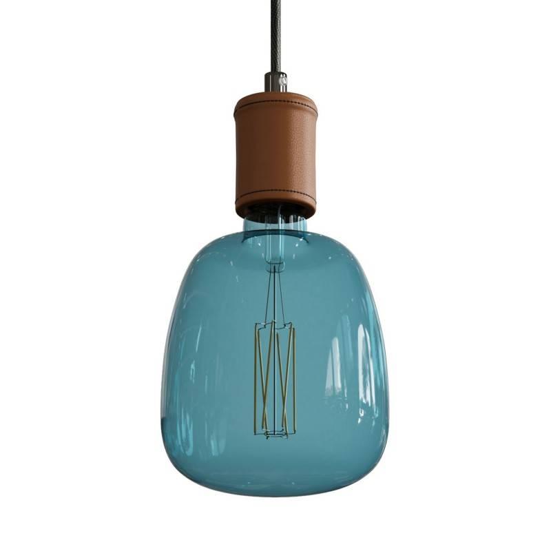 Lámpara colgante hecha en Italia con cable textil y detalles en piel