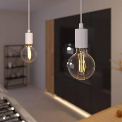 Lámpara colgante hecha en Italia con cable textil y acabados metálicos monocromático