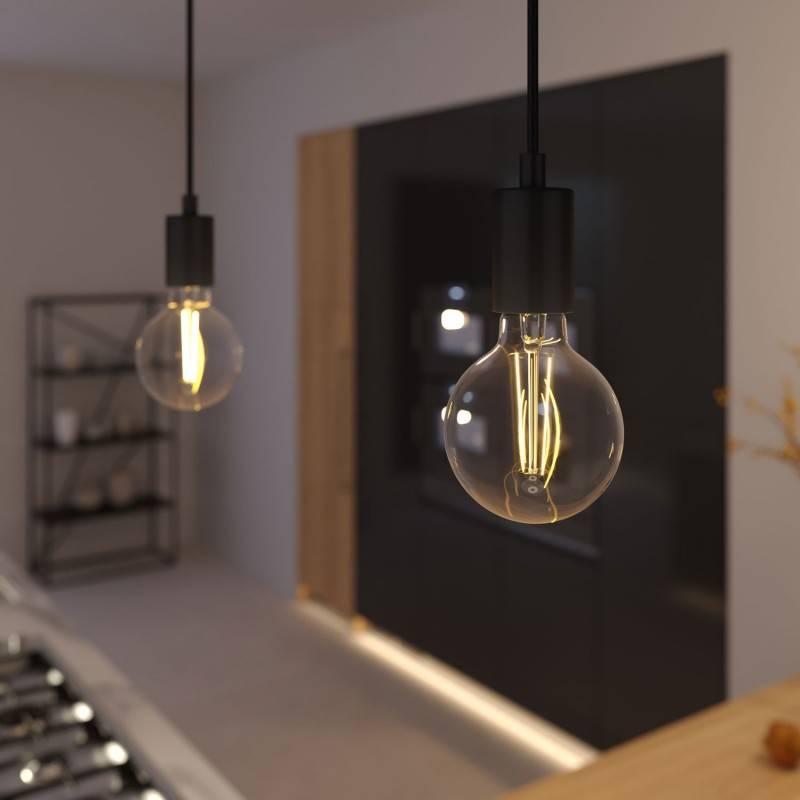 Lámpara colgante hecha en Italia con cable textil, bombilla y acabados metálicos monocromático
