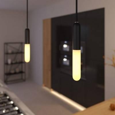 Lámpara colgante hecha en Italia con cable textil, portalámparas E14 P-Light y detalles de metal
