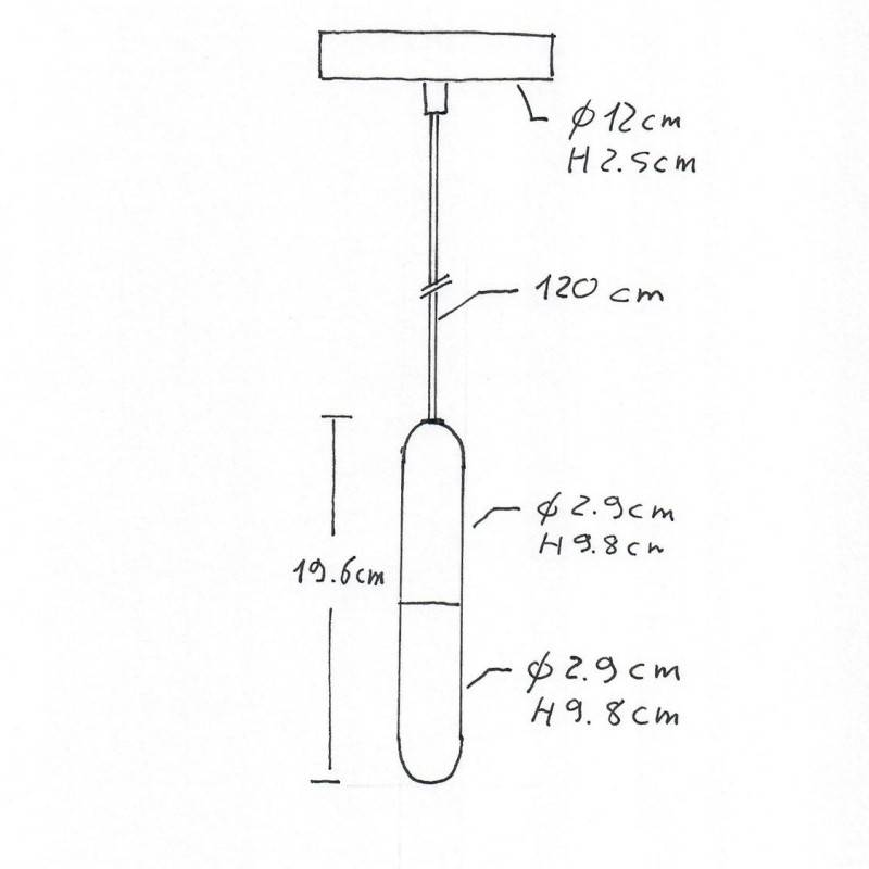 Lámpara colgante hecha en Italia con cable textil, bombilla, portalámparas E14 P-Light y detalles de metal