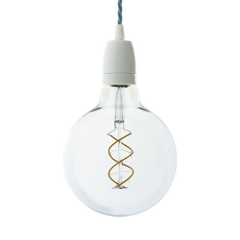 Lámpara colgante hecha en Italia con cable textil trenzado, bombilla y acabados de porcelana blanca