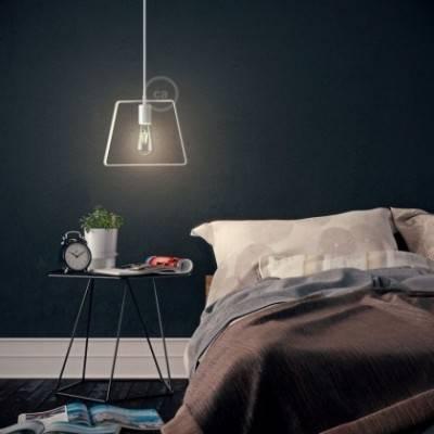 Lámpara colgante hecha en Italia con cable textil, pantalla Duedi Base y acabados en metal