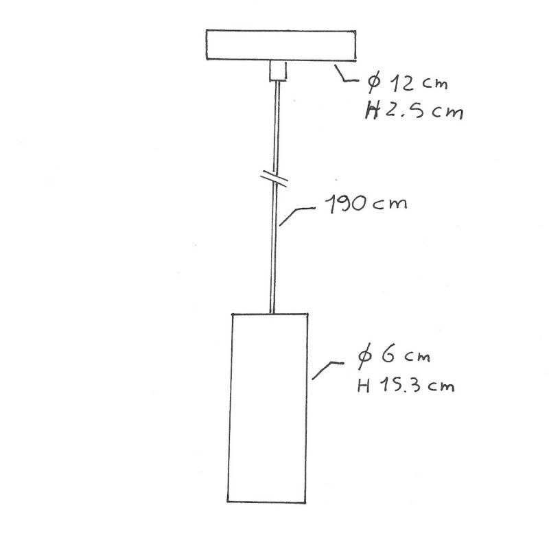 Lámpara colgante hecha en Italia con cable textil, pantalla Tub-E14 y detalles de metal