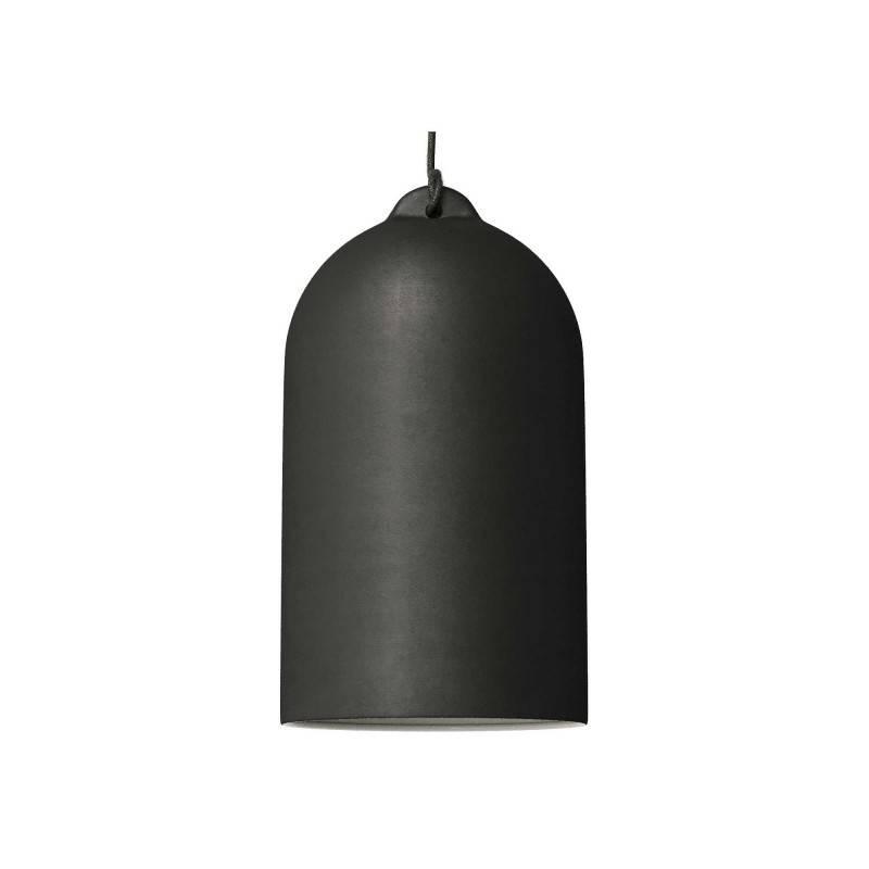 Lámpara colgante hecha en Italia con cable textil y pantalla Campana XL en cerámica