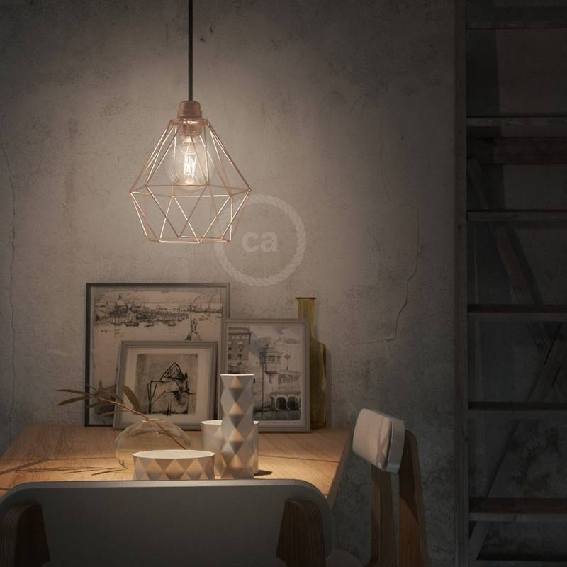 Lámpara colgante hecha en Italia con cable textil y pantalla jaula Diamond en metal