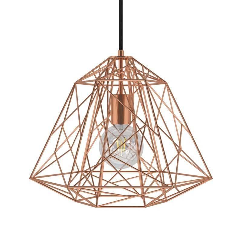 Lámpara colgante hecha en Italia con cable textil, pantalla Apollo y detalles metálicos