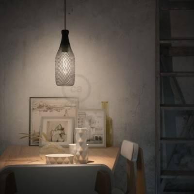 Lámpara colgante hecha en Italia con cable textil, pantalla botella Magnum con detalles metálicos