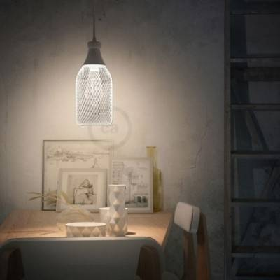 Lámpara colgante hecha en Italia con cable textil, pantalla botella Jeroboam con detalles metálicos