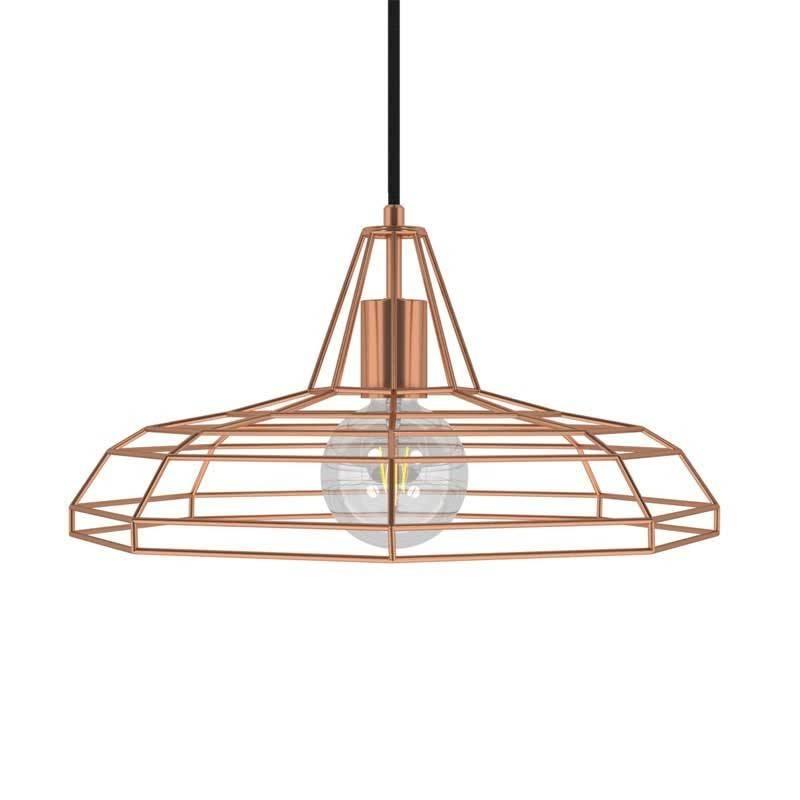 Lámpara colgante hecha en Italia con cable textil, pantalla Sonar y detalles metálicos