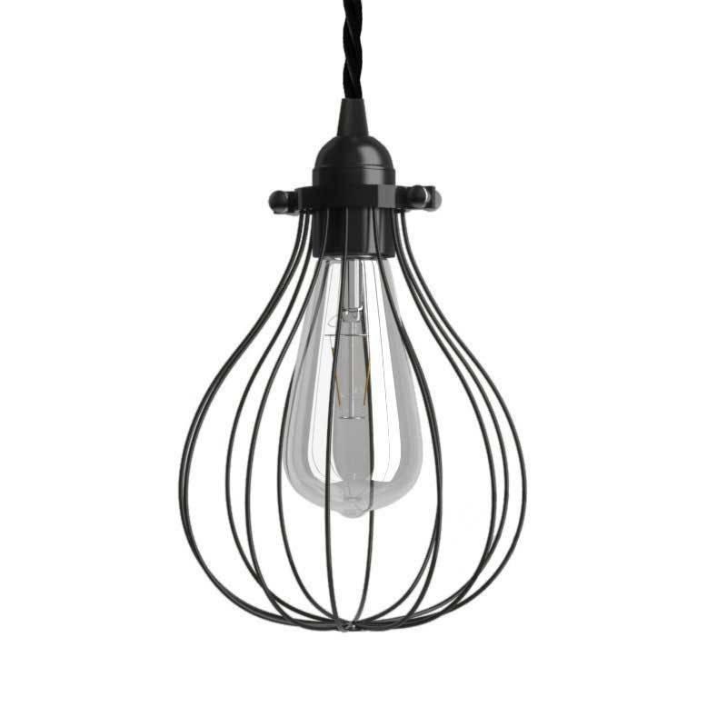 Lámpara colgante hecha en Italia con cable textil, pantalla jaula Drop y acabados metálicos