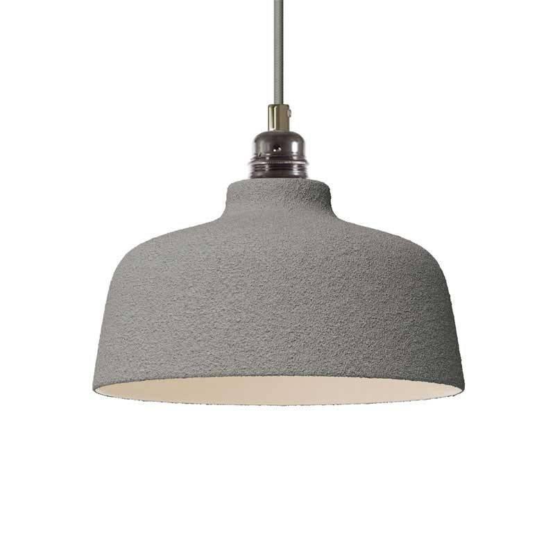 Lámpara colgante hecha en Italia con cable textil, pantalla Copa de cerámica y detalles metálicos