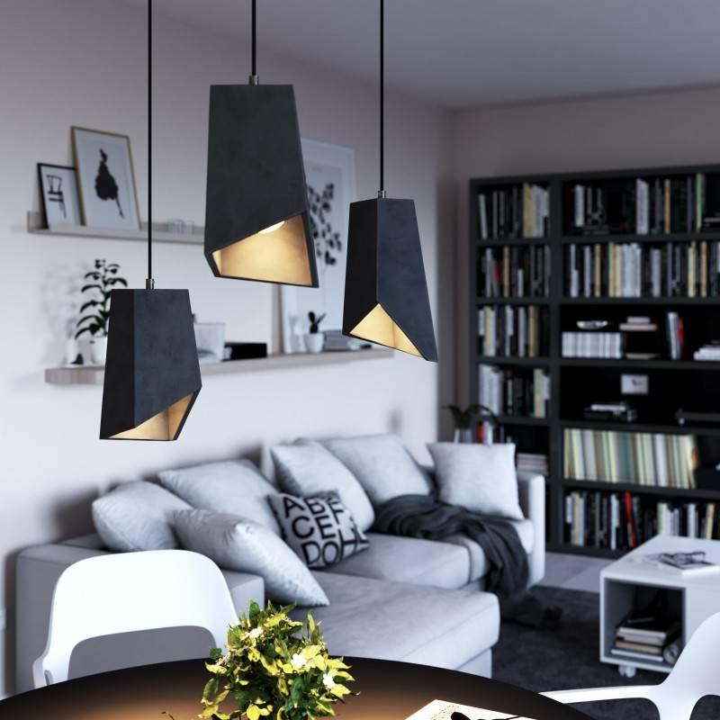 Lámpara colgante hecha en Italia con cable textil, pantalla Prisma en acabados de cemento y metal