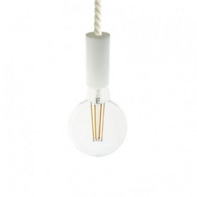 Lámpara colgante hecha en Italia con cable náutico XL 16 mm con acabados de madera barnizada