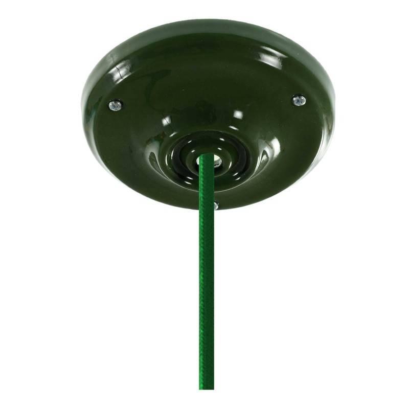 Lámpara colgante hecha en Italia con cable textil, bombilla y acabados en porcelana de colores