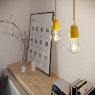 Lámpara colgante hecha en Italia con cable textil y acabados en porcelana de colores