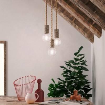 Lámpara colgante hecha en Italia con cordón náutico XL y portalámparas en corteza