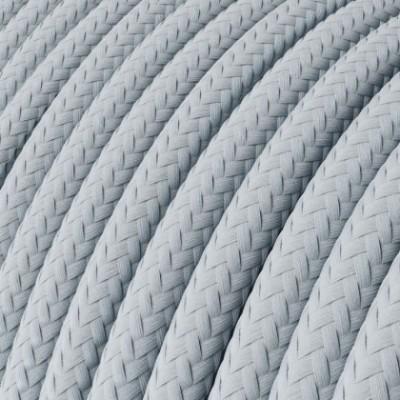 Cable eléctrico redondo cubierto con tela de seda lisa de color gris claro azulado RM30