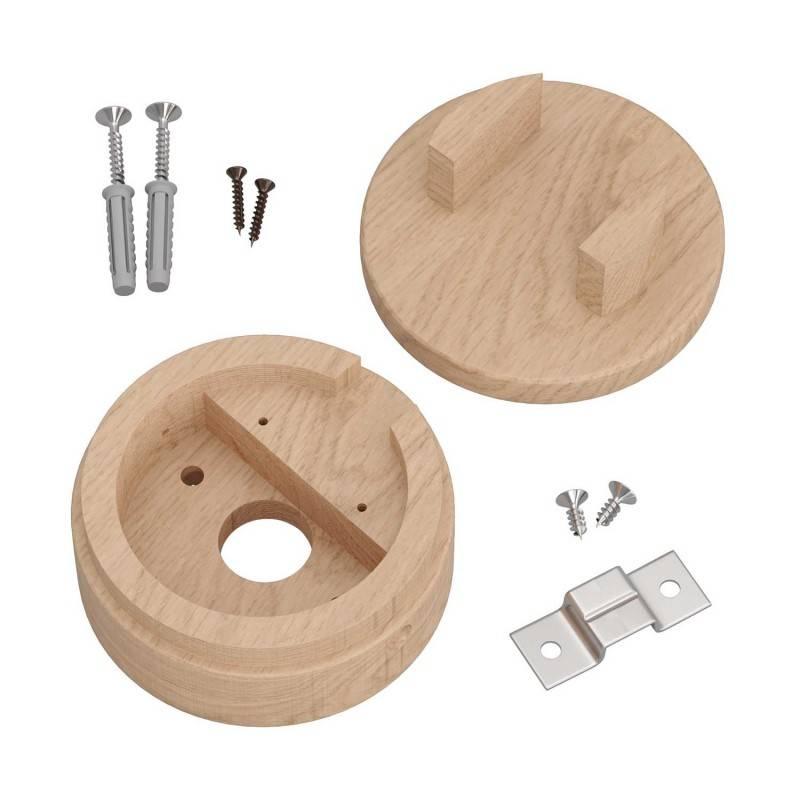 Rosetón de madera Filé System para cable textil guirnalda. Fabricado en Italia