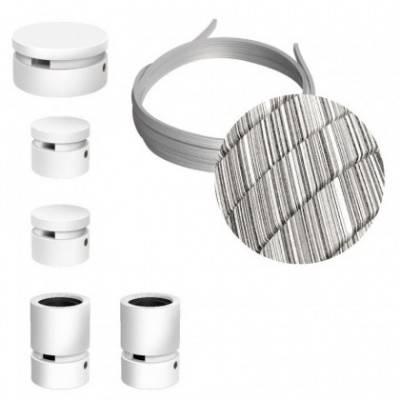 Kit Wiggle Filé System - con 3m cable textil guirnalda y 5 accesorios de madera pintados de blanco