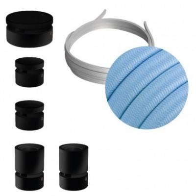 Kit Wiggle Filé System - con 3m cable textil guirnalda y 5 accesorios de madera pintados de negro