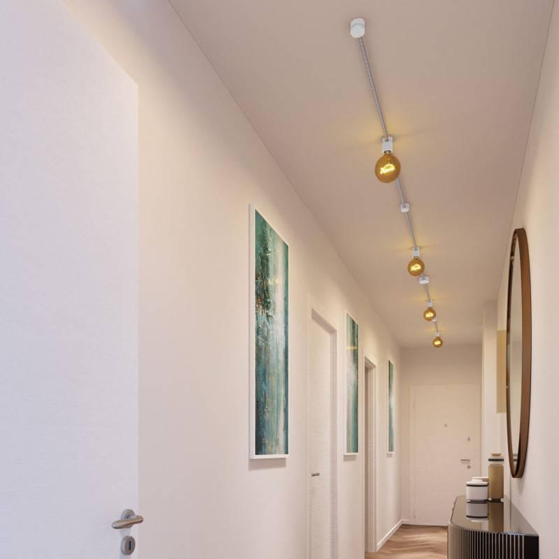 Kit Symmetric Filé System - con 5m cable textil guirnalda y 9 accesorios de madera pintados de blanco