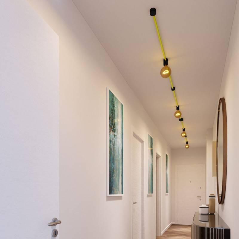 Kit Symmetric Filé System - con 5m cable textil guirnalda y 9 accesorios de madera pintados de negro