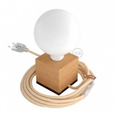 MoCo Posaluce Cubo de corcho natural completo con cable textil, interruptor y enchufe de 2 polos