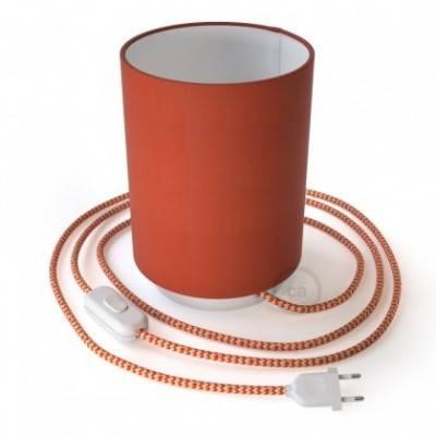Posaluce de metal con pantalla de cilindro langosta Cinette, completa con cable textil, interruptor y enchufe de 2 polos