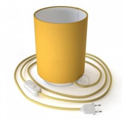 Posaluce de metal con pantalla de cilindro Amarillo Brillante, completo con cable textil, interruptor y enchufe de 2 polos