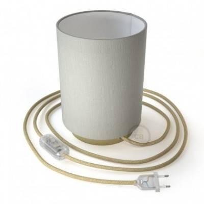 Posaluce de metal con pantalla de cilindro de Lino Blanco, completo con cable textil, interruptor y enchufe de 2 polos
