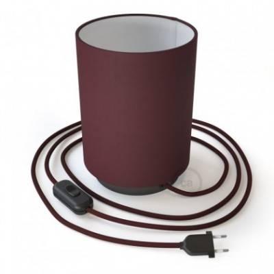 Posaluce de metal con pantalla de cilindro Bordeaux, completa con cable textil, interruptor y enchufe de 2 polos