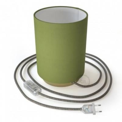 Posaluce de metal con pantalla de cilindro Verde Oliva, con cable textil, interruptor y enchufe de 2 polos