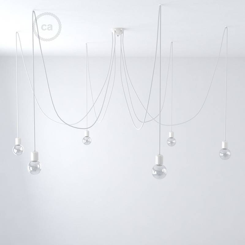 Lámpara colgante múltiple con 6 caídas Made in Italy con cable textil y acabados de cerámica de colores.
