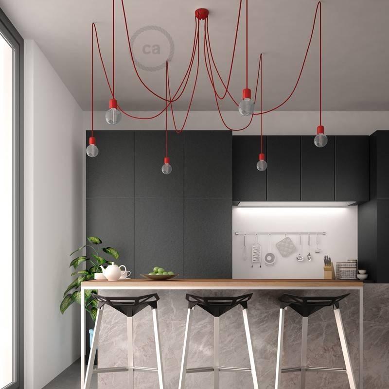 Lámpara colgante múltiple con 6 caídas Made in Italy con cable textil y acabados en cerámica de colores