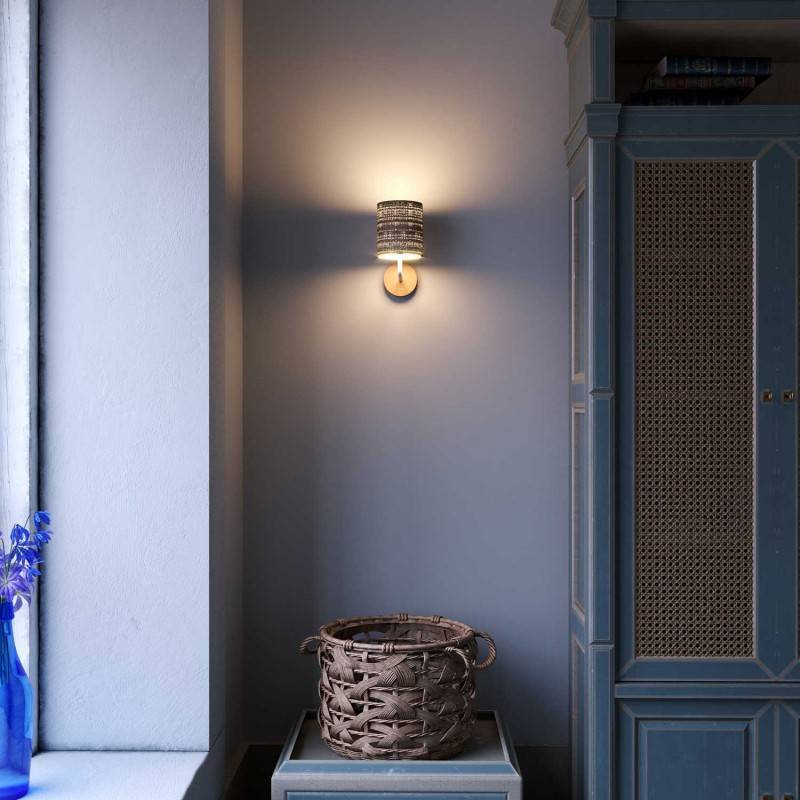 Lámpara de pared Wood de cerámica con pantalla de tela y tubo de extensión