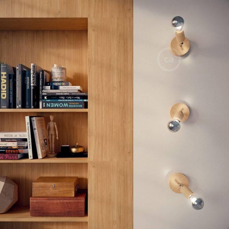 Fermaluce Wood 90°. lámpara de pared o techo de madera